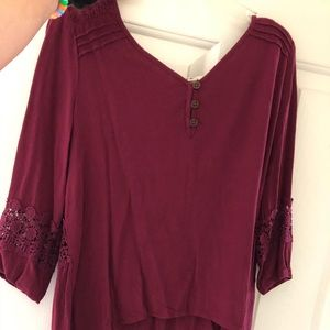 Lacy Maroon 3/4 Length Sleeve Shirt.